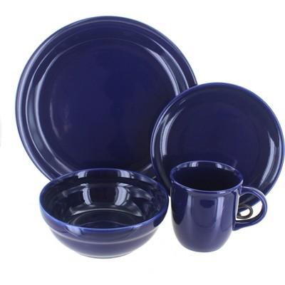 Blue Rose Polish Pottery Cobalt 16 Piece Dinnerware Set