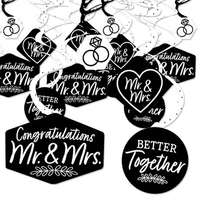Big Dot of Happiness Mr. and Mrs. - Black and White Wedding or Bridal Shower Hanging Decor - Party Decoration Swirls - Set of 40