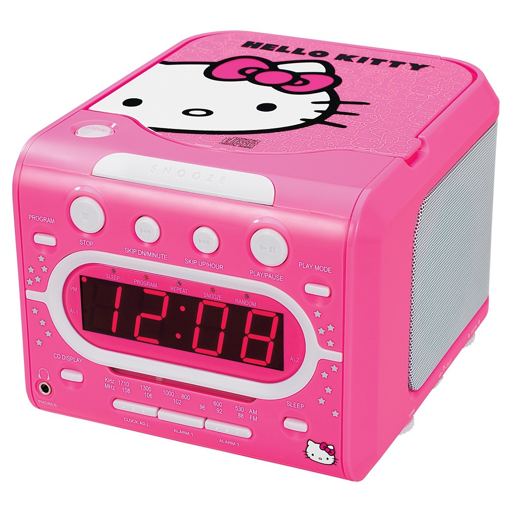 Hello Kitty KT2053A AM/FM Stereo Clock with CD Player - Pink