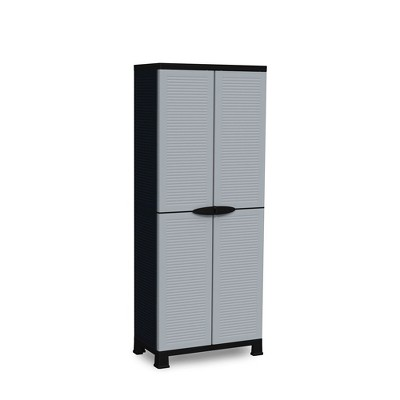 RAM Quality Products PRESTIGE UTILITY Indoor Outdoor 3 Shelf Tool Storage Organizing Cabinet with Lockable Double Grey Doors, Black