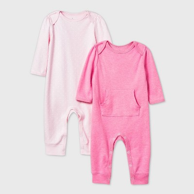 Baby Girls' 2pk Romper - Cloud Island™ Pink 3-6M