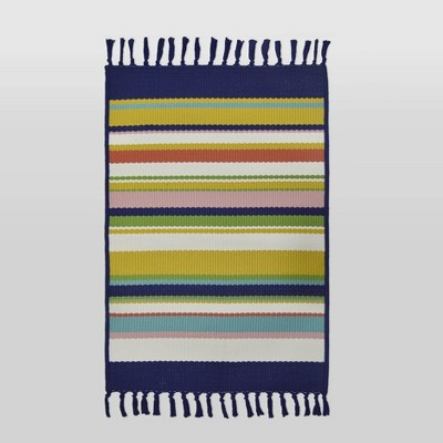 2'x3' Woven Tapestry Outdoor Rug Navy/Green/Yellow - Threshold™