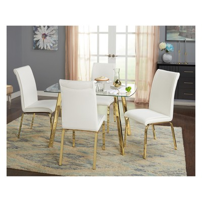Uptown Dining Table Glass/Gold Metal   Buylateral