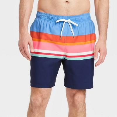 "Men's 7"" Striped Swim Trunks - Goodfellow & Co™ Blue"