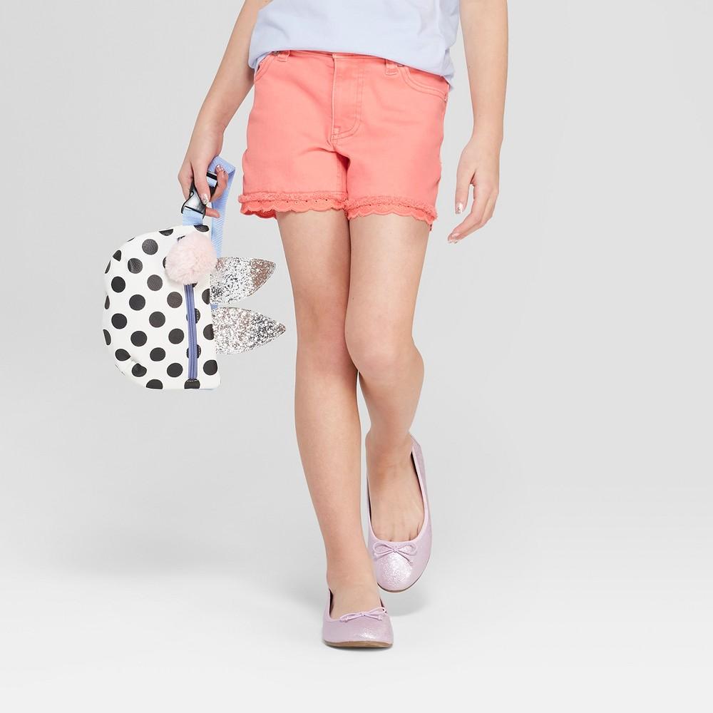 Plus Size Girls' Crochet Jean Shorts - Cat & Jack Coral Xxl Plus, Pink