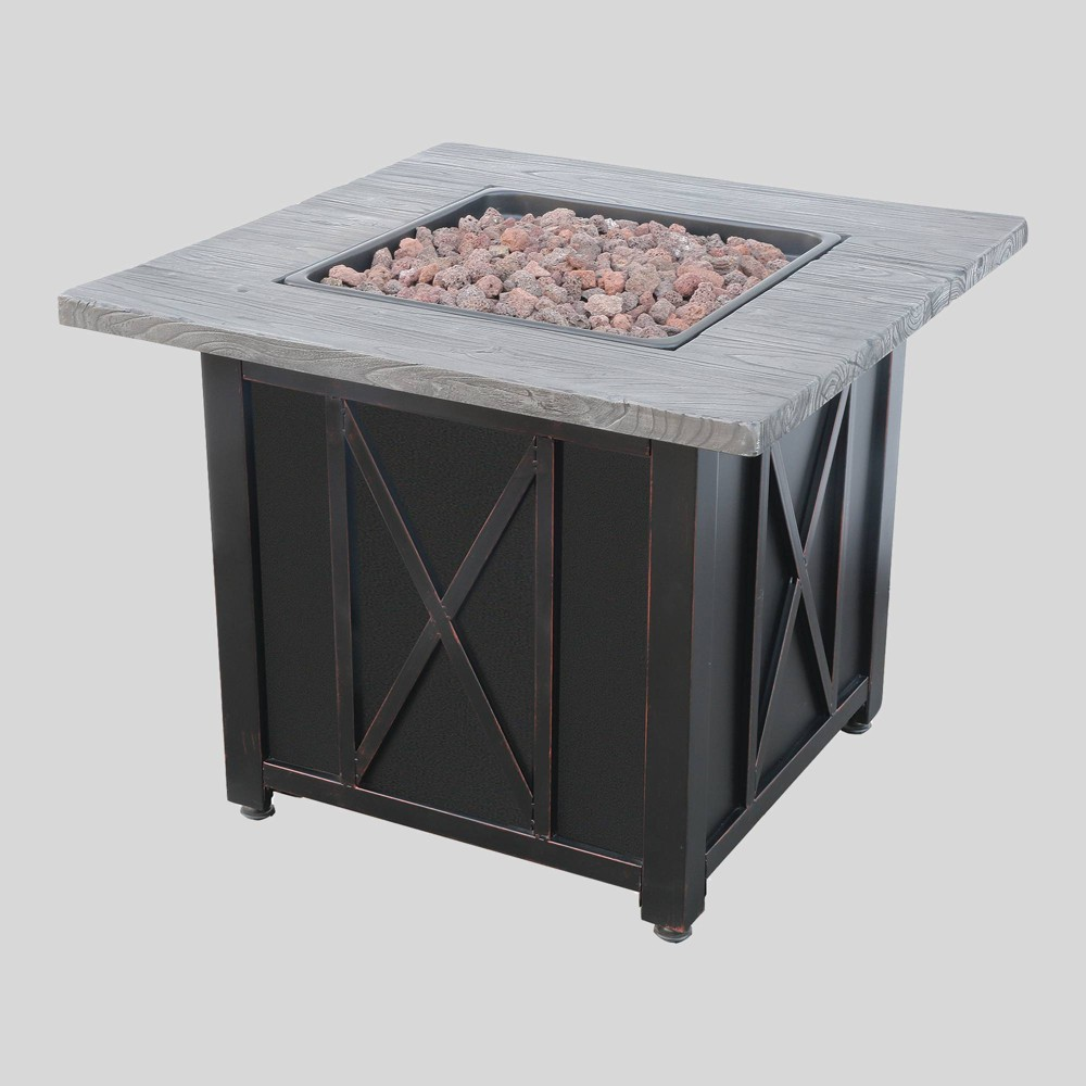 "Image of ""30"""" Outdoor Patio Gas Fire Pit with Wood Look Resin Mantel Gray - Endless Summer"""