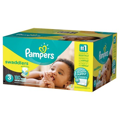 Pampers Swaddlers Diapers One Month Supply Pack Size 3 (180 ct)