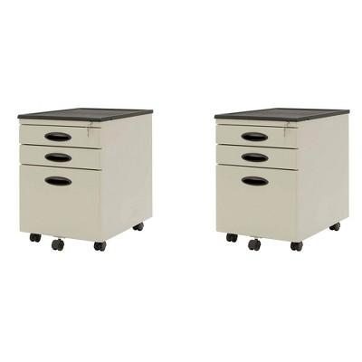 Studio Designs 3 Drawer Office Mobile Cabinet Drawer Storage, Putty (2 Pack)