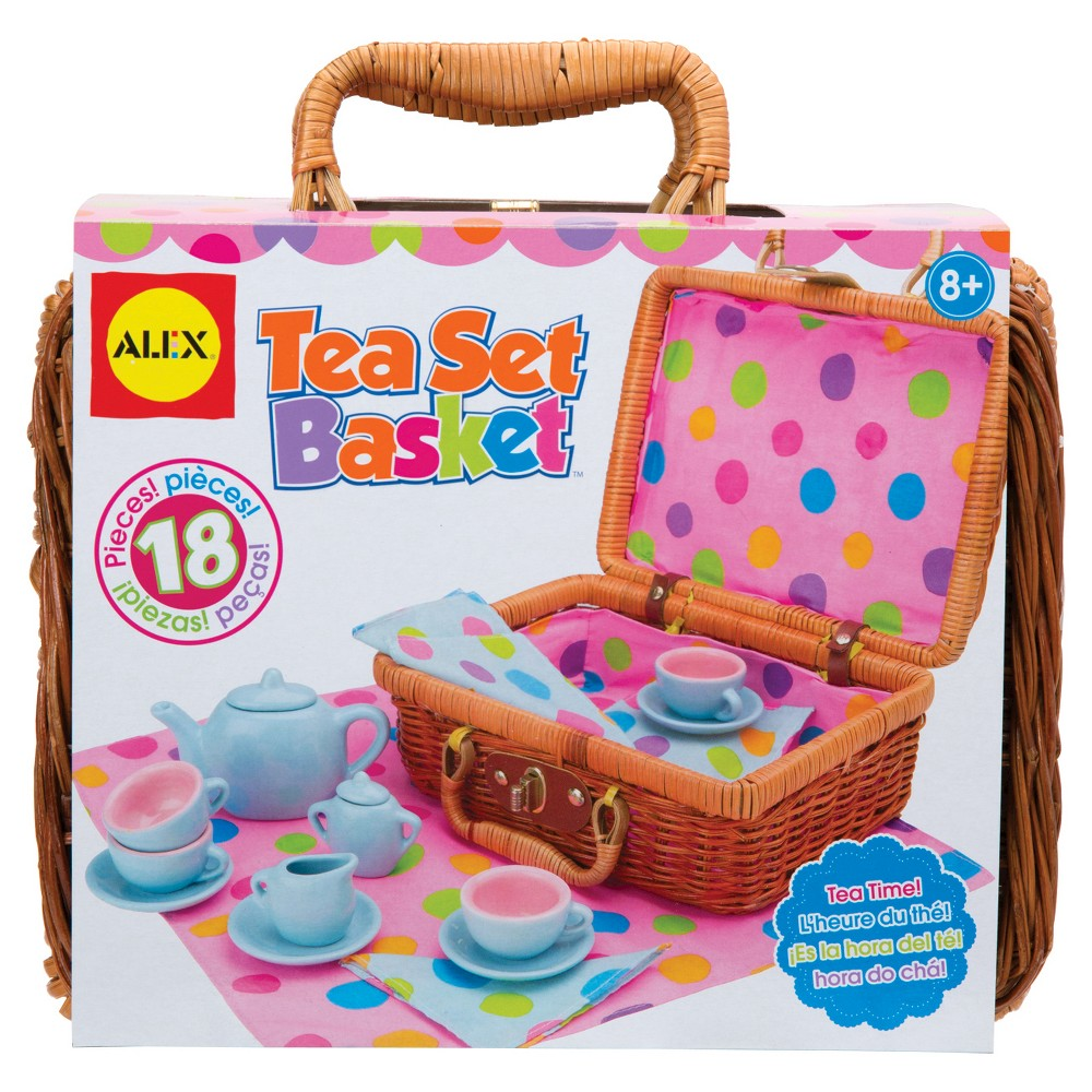 Alex Toys Tea Set Basket, Play Food and Toy Kitchens Alex Toys Tea Set Basket is a charming little crate filled with everything you need for afternoon tea. Have all your friends and maybe even a family member over for a spot of tea. The wicker basket holds this entire tea set together and makes transportation simple as your child brings his or her set from one tea party location to another. All supplies fit neatly into the basket, including adorable matching polka-dot napkins and a tablecloth to set the scene. The Alex Toys Tea Set Basket comes with a porcelain teapot, teapot lid, creamer, sugar bowl with lid, 4 cups, 4 saucers, matching pastel polka-dot napkins, tablecloth and wicker carrying basket. Recommended for children 8 years of age and older. Gender: Unisex.