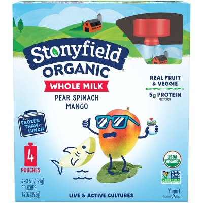 Stonyfield Organic Whole Milk Pear Spinach Mango Kids' Yogurt - 4ct/3.5oz Pouches