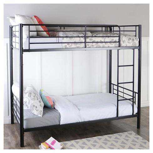 Premium Metal Twin Over Twin Bunk Bed Black Saracina Home