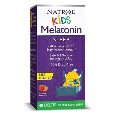 Natrol Kids Melatonin 1mg Fast Dissolve Sleep Aid Tablets - Strawberry - 40ct