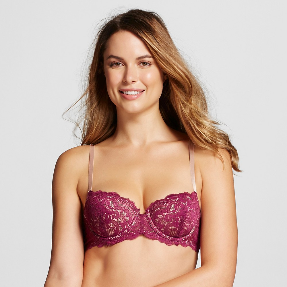 Memory Fit by ThirdLove Lace Women's Balconette Bra - Purple 34B 1/2, Red