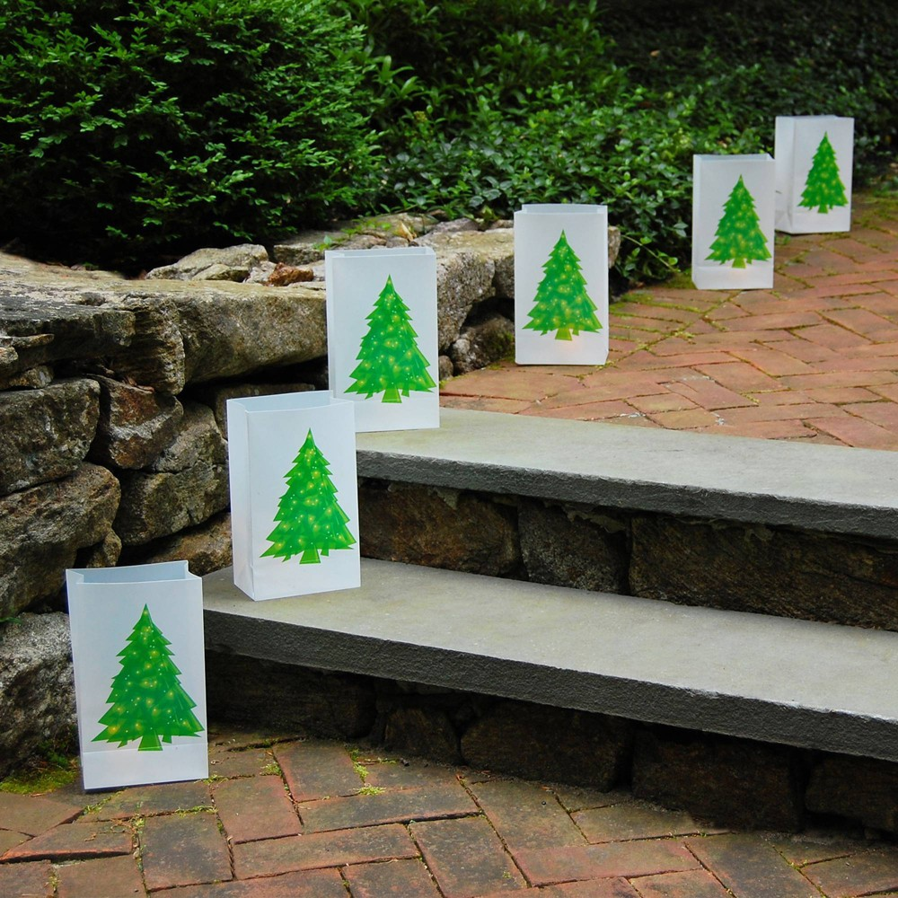 "Image of ""12ct Plastic Luminaria Bags """"Holiday Tree"""" Green/White - LumaBase"""