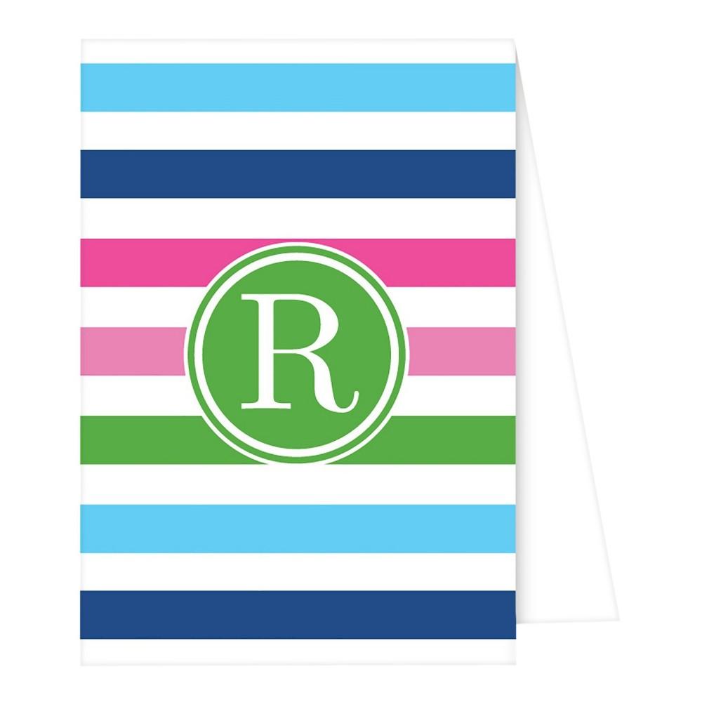 Note Cards - Preppy Stripe Monogram - R, Multicolored