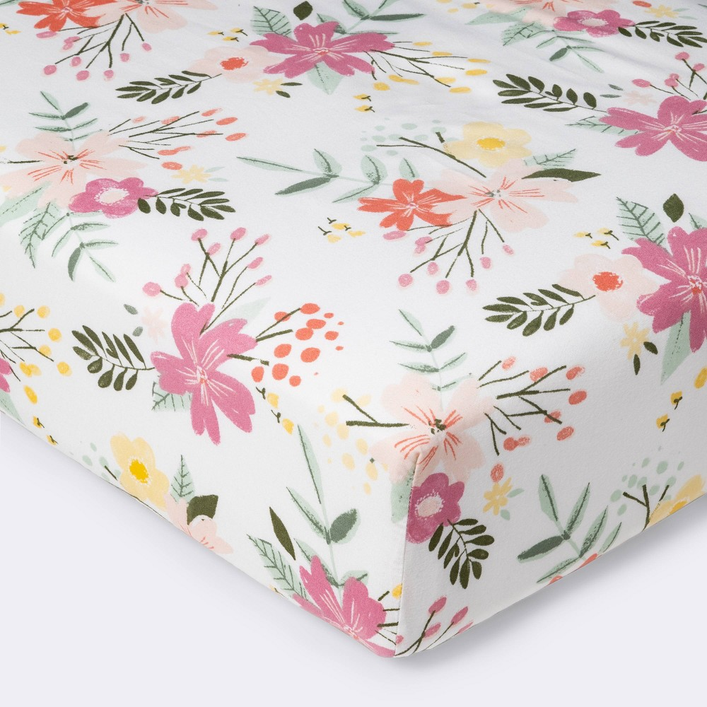 Fitted Crib Sheet Meadow Cloud Island 8482 Green Yellow Pink