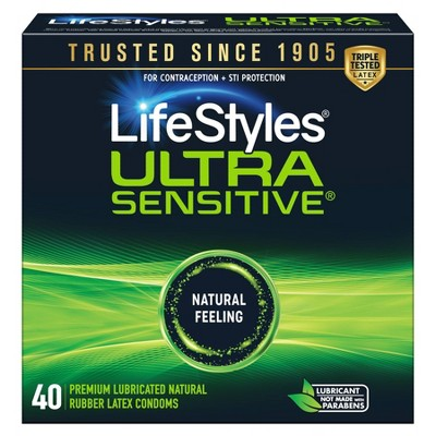 LifeStyles Ultra Sensitive Lubricated Latex Condoms - 40ct