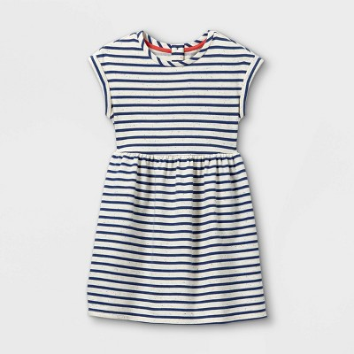 Girls' Striped Short Sleeve Knit Dress - Cat & Jack™