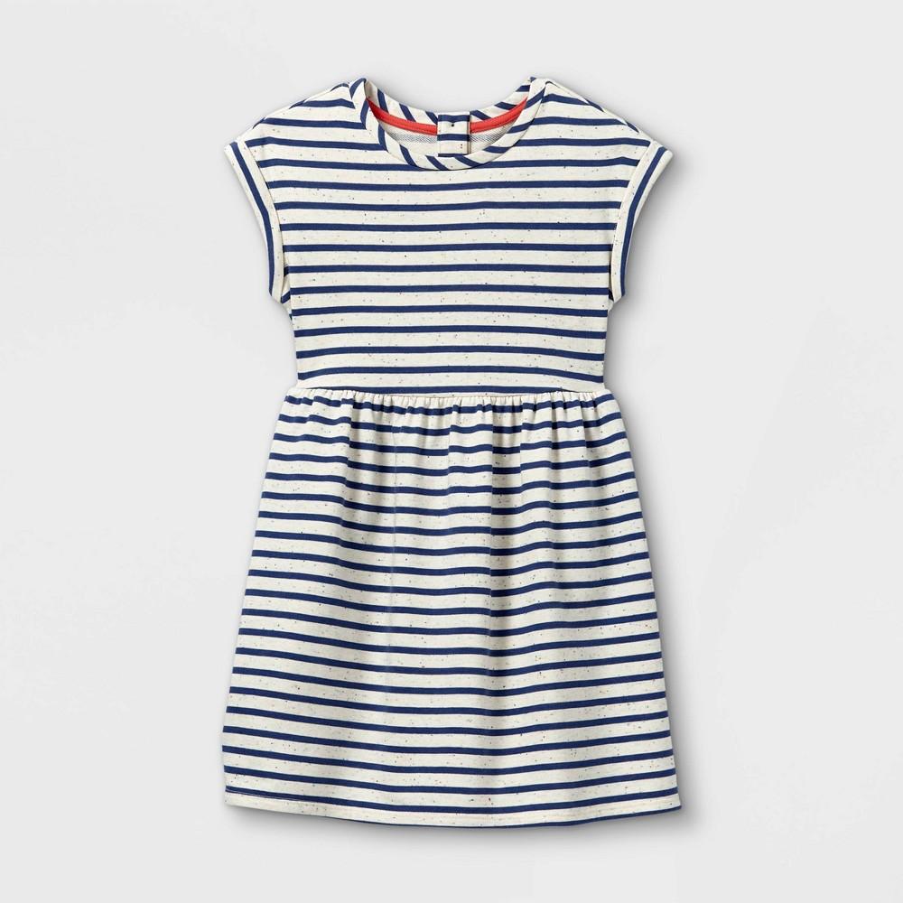 Girls 39 Striped Short Sleeve Knit Dress Cat 38 Jack 8482 Blue Cream L
