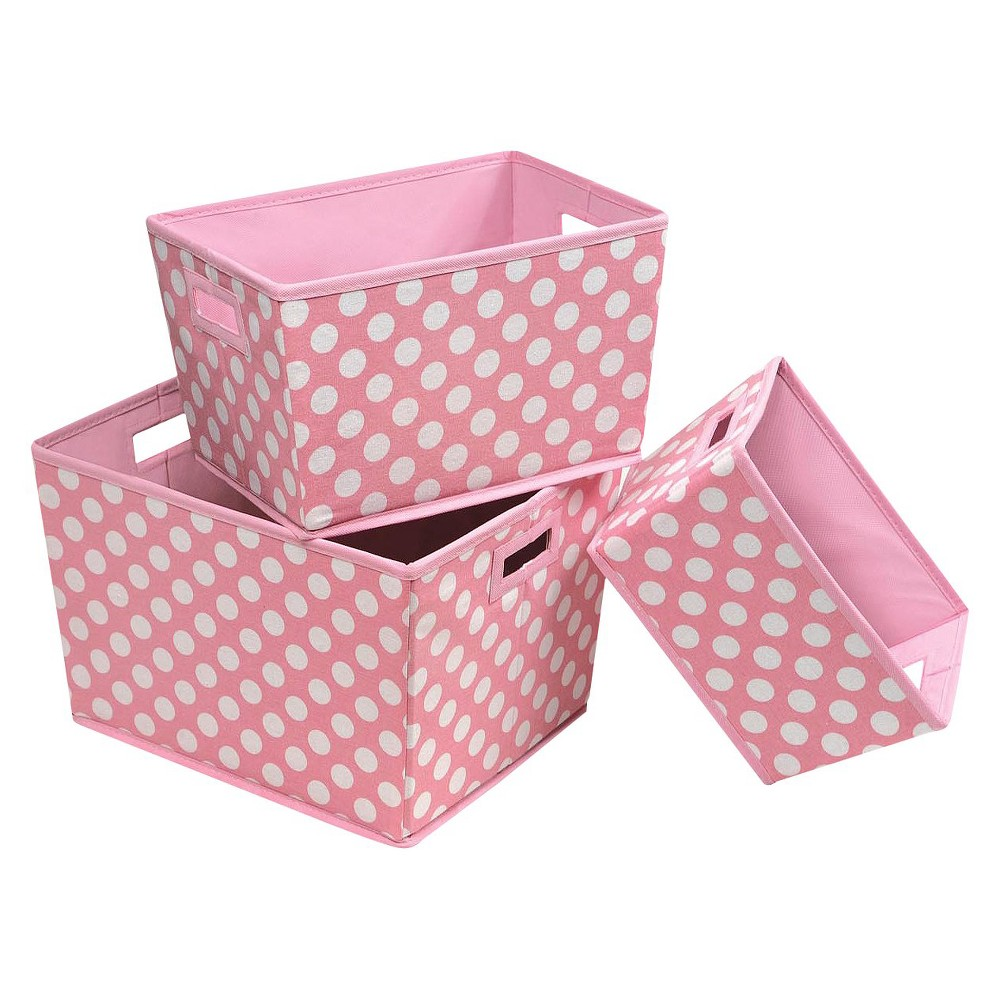Image of Badger Basket Nesting Decorative Bin Trapezoid Set of 3, Pink