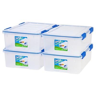 Ziploc 26.5qt Weather Shield Clear Storage Box - 4pk