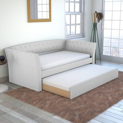 Twin Olivia Linen Tufted Day Bed and Roll Out Trundle Frame Set - Eco Dream