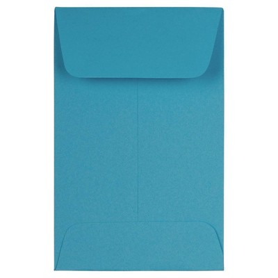 """JAM Paper 50pk 2 1/4""""x3 1/2"""" #1 Coin Business Envelopes - Blue Recycled"""
