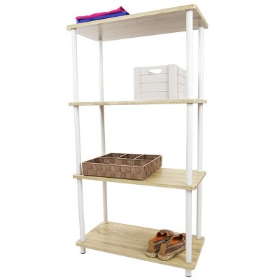 Home Basics Pine Wood 4 Tier Rectangular Corner Shelf, Natural