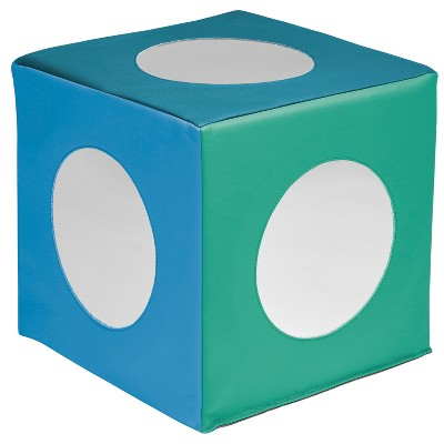 ECR4Kids SoftZone Mirror Cube, Soft Sensory Tummy Time Toy for Infants and Babies