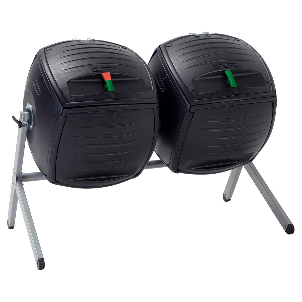 Image of Two 50 Gallon Dual Compost Tumbler s - Black - Lifetime