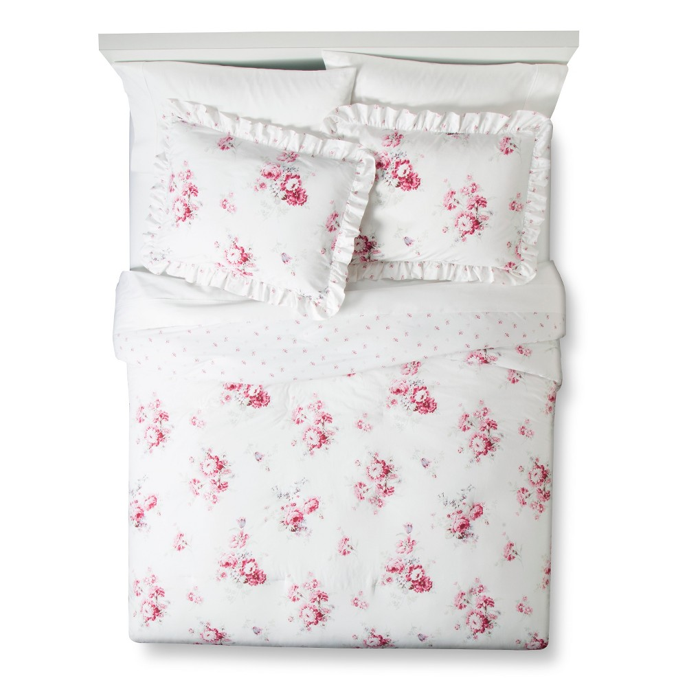 Sunbleached Floral Comforter Set (Full/Queen) Pink 3pc - Simply Shabby Chic, Pink White
