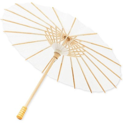Bright Creations Mini Paper Parasol Umbrellas for Crafts (11.5 in, White, 12 Pack)