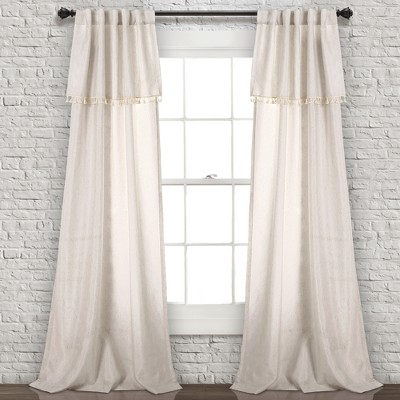 Ivy Tassel Window Curtain Panels Neutral 40 X84  Set - Lush Decor