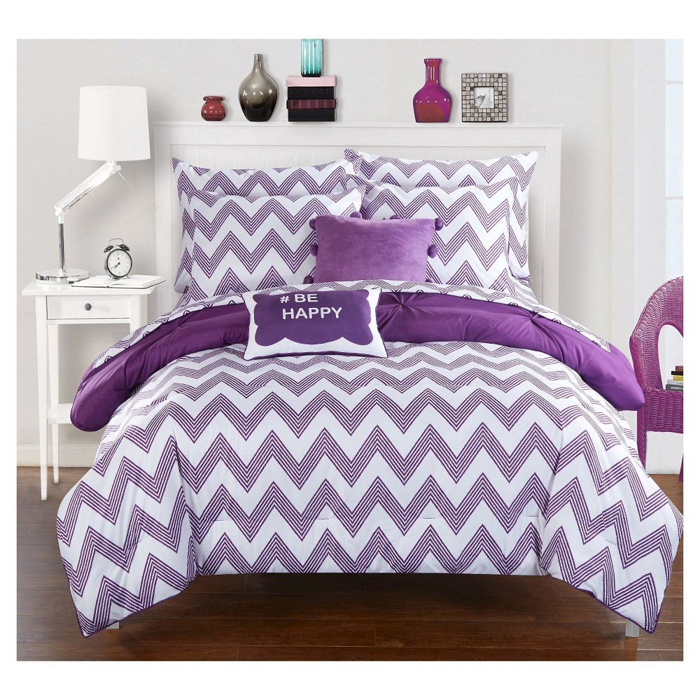 Foxville Pinch Pleated and Ruffled Chevron Print Reversible Comforter Set 7 Piece (Twin XL) Purple - Chic Home Design