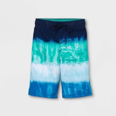 Boys' Colorblock Tie-Dye Swim Trunks - Cat & Jack™ Blue