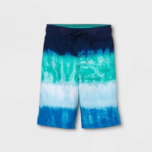 Boys' Colorblock Tie-Dye Swim Trunks - Cat & Jack™ Blue - image 1 of 2