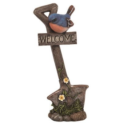 Transpac Resin 10 in. Brown Spring Garden Tools with Bird Statuette