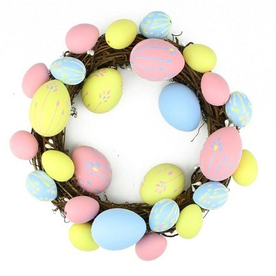 "Northlight 10"" Unlit Floral Stem Easter Egg Spring Grapevine Wreath - Yellow/Pink"