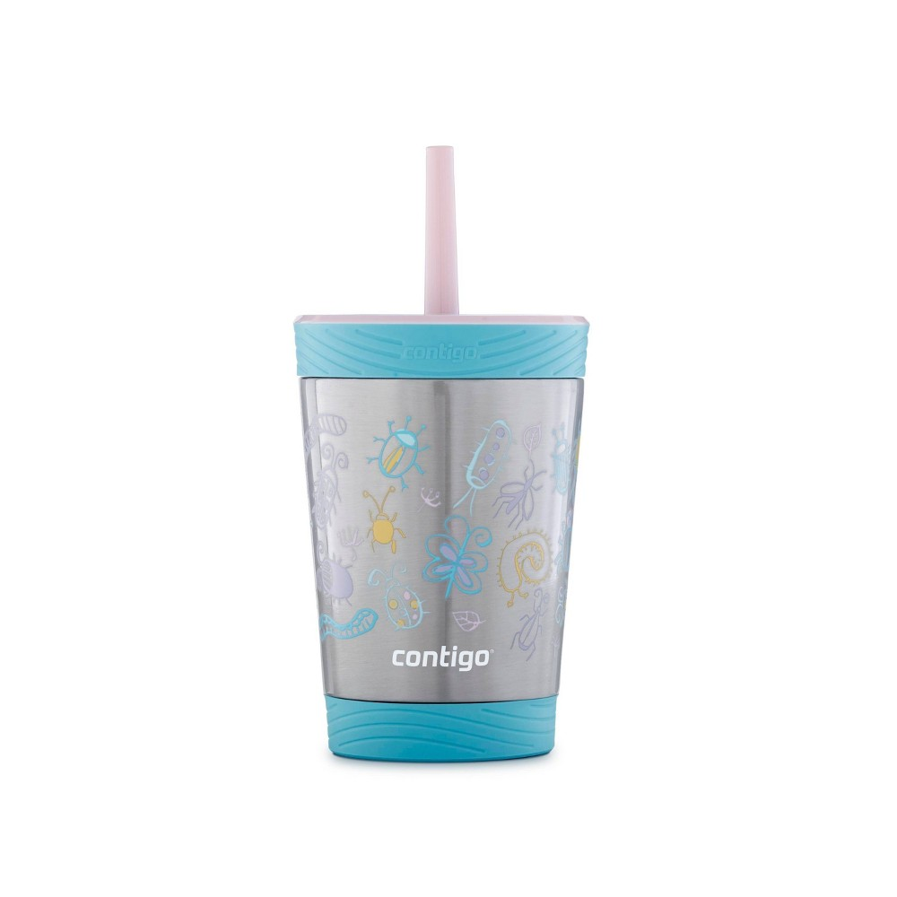 Image of Contigo 12oz Stainless Steel Spill-Proof Kids Tumbler with Straw Blue/Pink