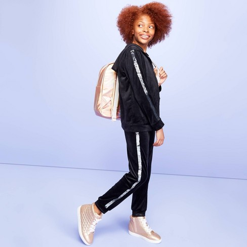 Girls' Velour Joggers with Flip Sequin Stripe - More Than Magic™ Black - image 1 of 4