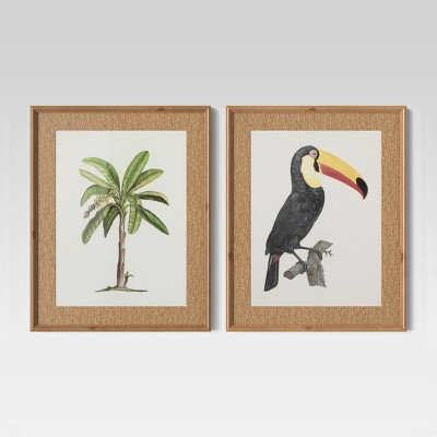 "(Set of 2)16"" x 20"" Tropical Palm And Toucan Art Prints - Threshold™"