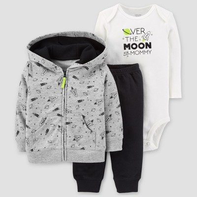 Baby Boys' Cotton 3pc Hooded Over The Moon Set - Just One You™ Made by Carter's® Gray 6M