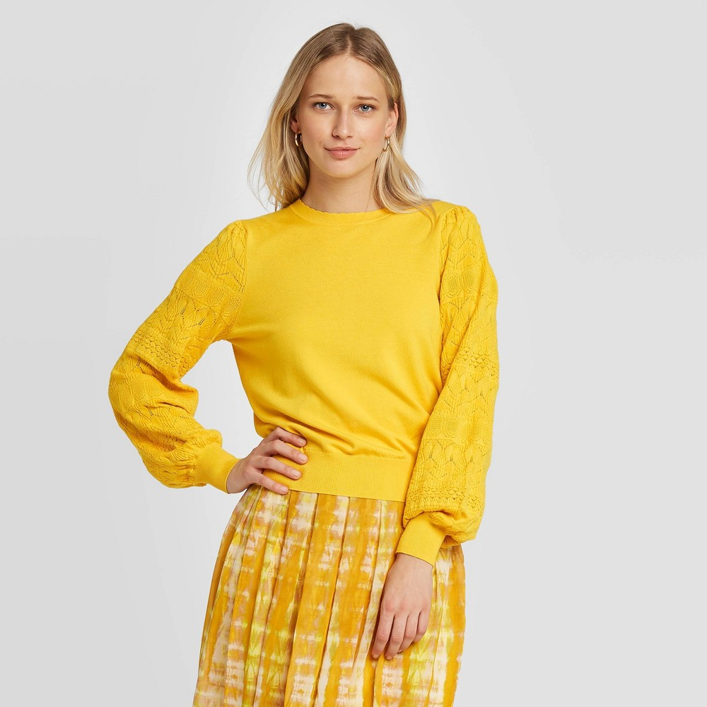 Women's Pointelle Crewneck Pullover Sweater - Who What Wear Yellow XXL, Women's was $29.99 now $20.99 (30.0% off)