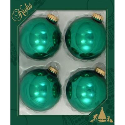 Christmas By Krebs 4ct Emerald Green Shiny Christmas Ball Ornaments 3 25 80mm Target