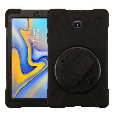 Valor Rotatable Stand with Wristband Hard Hybrid Plastic TPU Cover Case w/stand For Samsung Galaxy Tab A 8.0 2018 - Black
