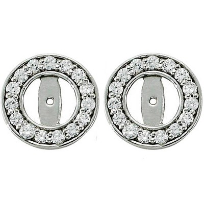 Pompeii3 1/2ct Halo Round Diamond Studs Earring Jackets 14K White Gold (up to 4mm)