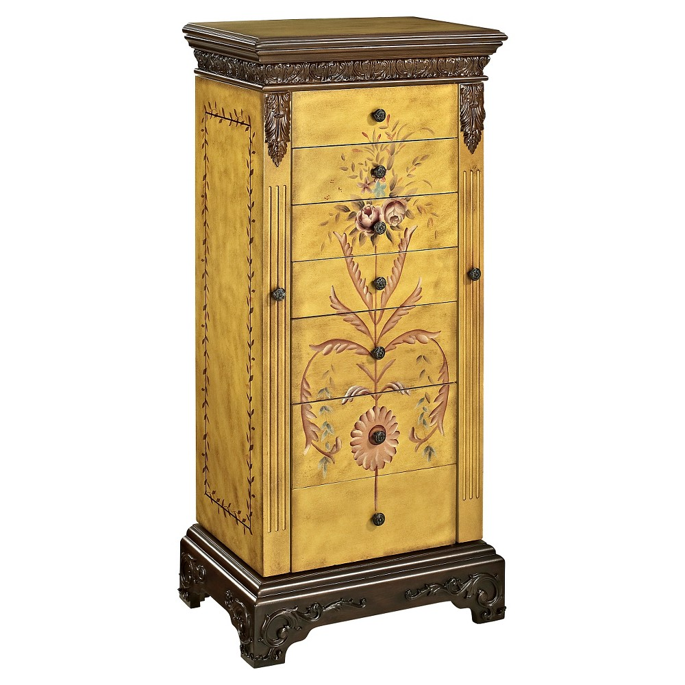 Beatrice Antique Parchment Hand Painted Jewelry Armoire - Powell Company