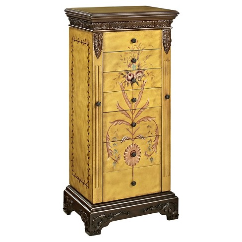 Beatrice Antique Parchment Hand Painted Jewelry Armoire - Powell Company - image 1 of 4