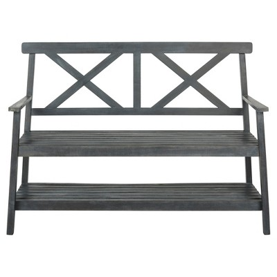 "Mayer 49.21"" Outdoor Bench - Gray - Safavieh"