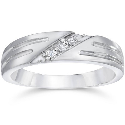 Pompeii3 Mens Real Diamond 14k White Gold Wedding Ring Band New